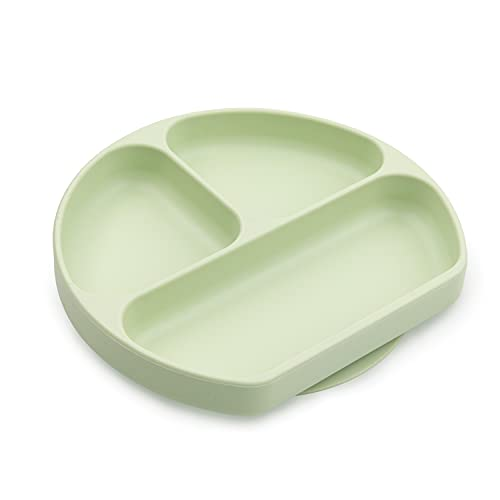 Bumkins Silicone Grip Dish, Suction Plate, Divided Plate, for Baby and Toddler, BPA Free, Microwave and Dishwasher Safe – Sage