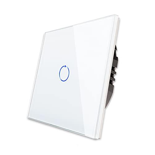 CNBINGO Interruttore di luce a sfioramento, bianco singola, con sistema touch in vetro e LED di stato, conduttore neutro, non necessario, AC 240 V, 800 W/scomparto