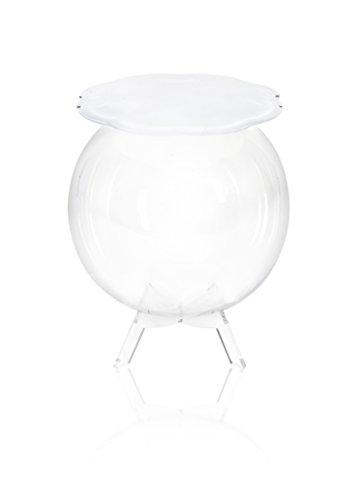 Iplex Design Bollino Tavolino/Comodino Contenitore, Plexiglass/PMMA, Bianco/Trasparente