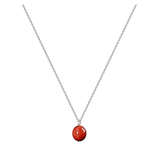 ZhaoZZ Collares Mujer Joven, Cornalina Colgante, Collar De La Ágata, Cristal Colgante, Collar De Ágata Roja Simple, Collar De Cristal Rojo Ágata For La Mujer (Color : Silver, Size : 1pcs)