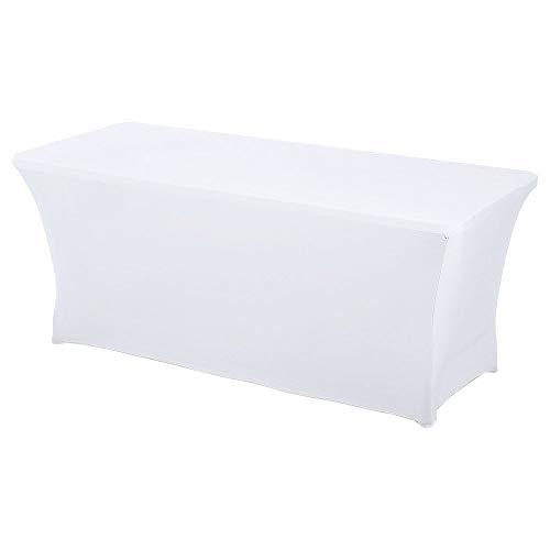 HAORUI Spandex Stretch Lycra Tischdecke, 243 cm, rechteckig, für Hochzeit, Bankett, Trestle Tisch (243 cm, Weiß)