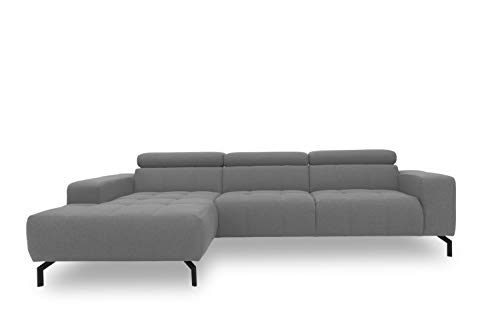 DOMO Collection Cunelli Ecksofa, Sofa mit Rückenfunktion, Polsterecke mit Relaxfunktion, 292x175x79 cm, Eckcouch in grau