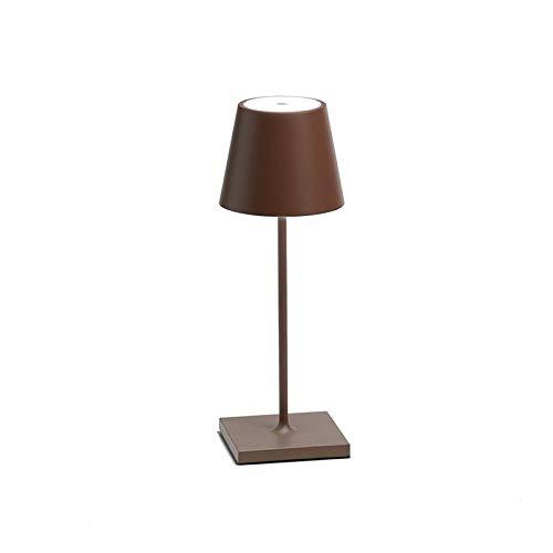 Ai Seiten, POLDINA, mini-LED-tafellamp, dimbaar, 2700 K, oplaadbaar, IP54 voor buiten, Corten