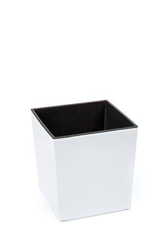KREHER XXL Design Pflanzkübel aus Kunststoff in Hochglanz Weiß mit herausnehmbaren Einsatz. Maße BxTxH: 40 x 40 x 41 cm