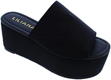 Liliana Budza5 Women's Bandana Open Toe Platform Wedge Heel Slide Mule Sandal Black-5 7.5