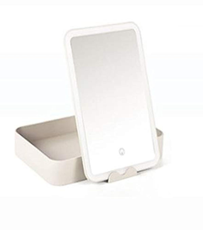 民間チチカカ湖確認化粧鏡、大容量収納ボックス化粧ギフト付き白色LEDライト化粧鏡
