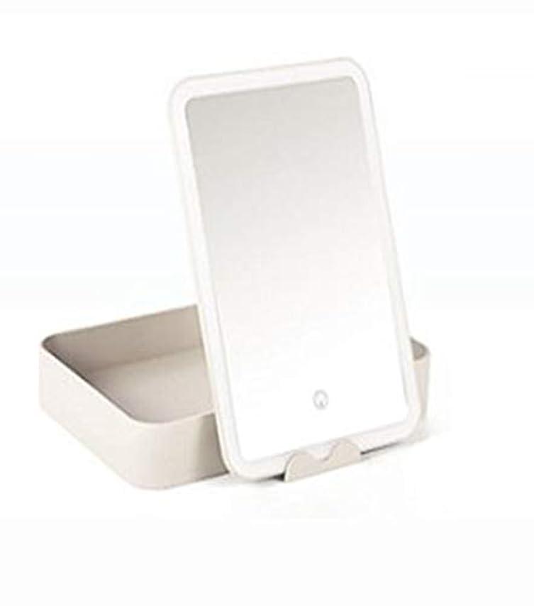 知覚できるマーケティング無駄に化粧鏡、大容量収納ボックス化粧ギフト付き白色LEDライト化粧鏡