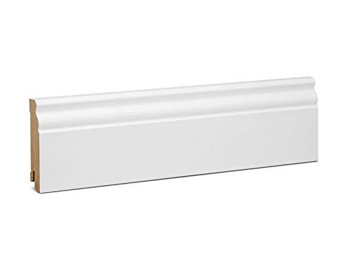 KGM Hamburger Sockelleiste Altberliner Profil – Weiß folierte MDF Fußbodenleiste – Maße: 2500 x 19 x 80 mm – 1 Stück