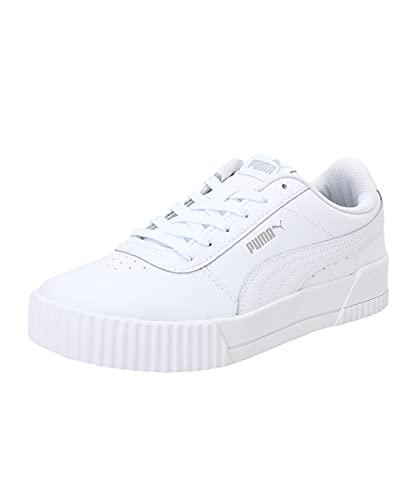 PUMA Damen Carina L Sneaker, White White Silver, 41 EU