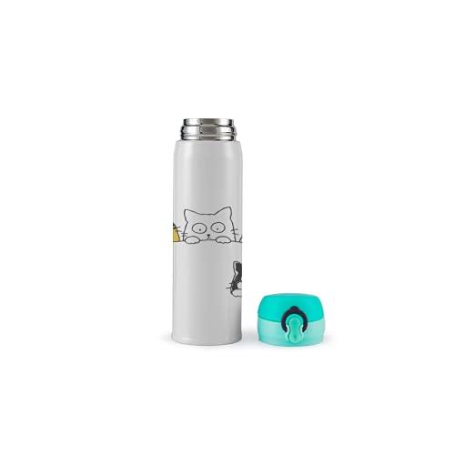 XUJIAHUI - Botella de agua con aislamiento de acero inoxidable para gatos, para deportes, café, té, viajes, al aire libre, bloqueo de seguridad, a prueba de fugas, 500 ml