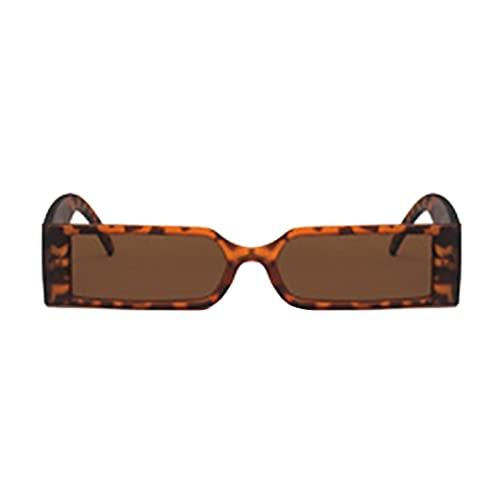 Muium(TM) Gafas de sol unisex para adultos, estilo vintage, rectangulares, UV400, para hombre y mujer, con montura reflectante, con protección UV, marrón,
