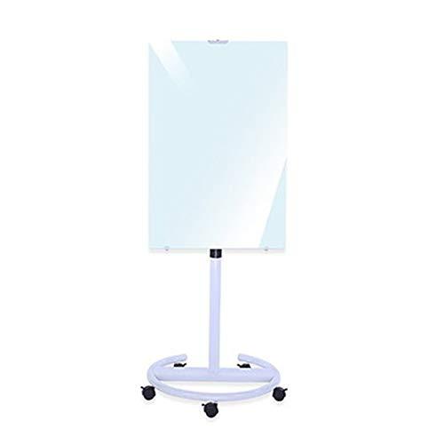 ZDAMN Tableau Blanc Support en Verre trempé Whiteboard Amovible Type Mobile Bureau Blackboard enseignement avec marqueur de Poche à Double Face Cadre en méta (Couleur : White, Size : 70x100cm)