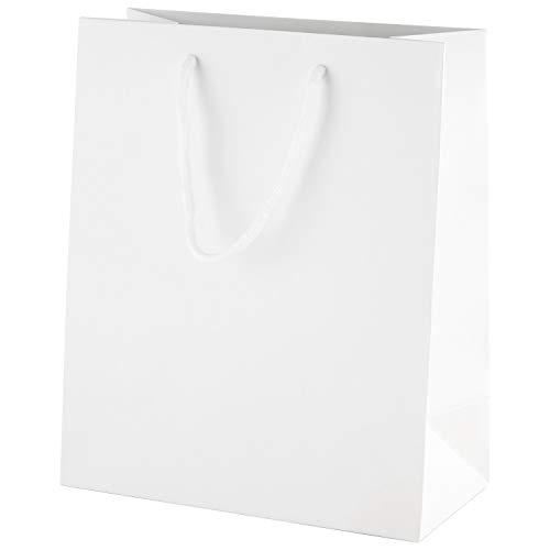 Thepaperbagstore 10 Moyen Sacs-Cadeaux de fête en Papier Mat poignée en Corde 200x100x240mm - Blanc