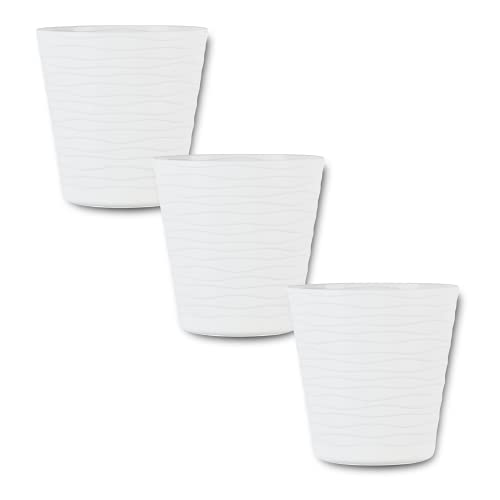 ORTEN Plant Pot Plastic Flower Pot with Saucer and Drainage Holes for All House Plants, Herbs, Cactus, Orchid, Succulents White Ø 13cm (5.11 in), Set of 3