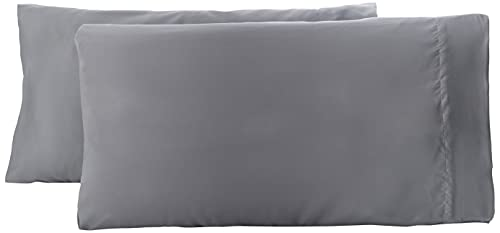 Amazon Basics - Funda de almohada de microfibra, 2 unidades, 50 x 80 cm - Gris oscuro