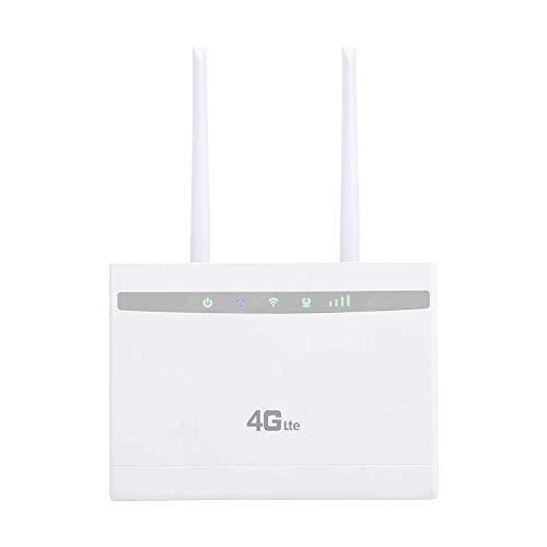 DaysAgo Desbloqueado Router InaláMbrico 4G LTE 300Mbps Router InaláMbrico para Interiores CPE 2 Piezas Antenas con Puerto LAN y Ranura para Tarjeta SIM Enchufe de la UE