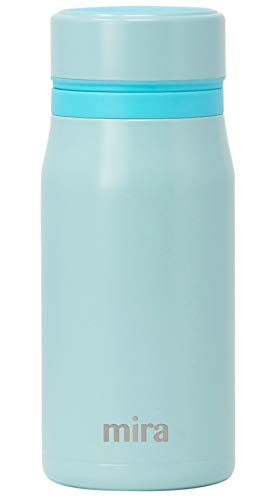 Mira 12 oz Insulated Small Thermos Flask | Kids Vacuum Insulated Water Bottle | Leak Proof & Spill Proof | Pearl Blue