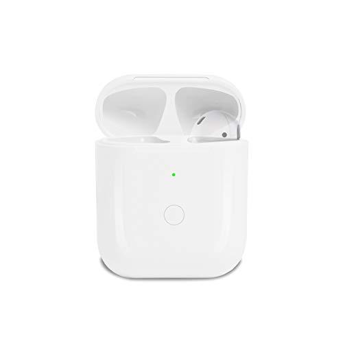 Funda de carga compatible con Airpod 1 y Airpod 2, con botón de sincronización Bluetooth y funda de carga (blanco)