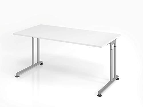 Hammerbacher Schreibtisch C-Fuß 160x80cm (Weiß/Silber)
