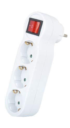 Kde - Adaptador Enchufe Triple Con Interruptor, Ladrón de Enchufe (Blanco).