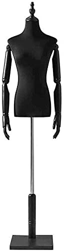 SDHENAILIAN Maniquí Confección Formulario De Vestimenta Hembra Negra con Soporte Ajustable Y Brazos Flexibles, Ligero Maniquí Torso Medio Cuerpo para Ropa T-Shirt Suéteres (Color : Style 1)