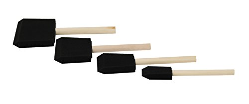 "Home-X Foam Brushes with Wooden Handles, A Must Have for Any Painter, Set of 4 (1"" - 4"")"