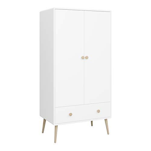 Steens GAIA Kleiderschrank, 80 x 160 x 50 cm (B/H/T), MDF Holz, Weiß, 2 Türen, 1 Schublade
