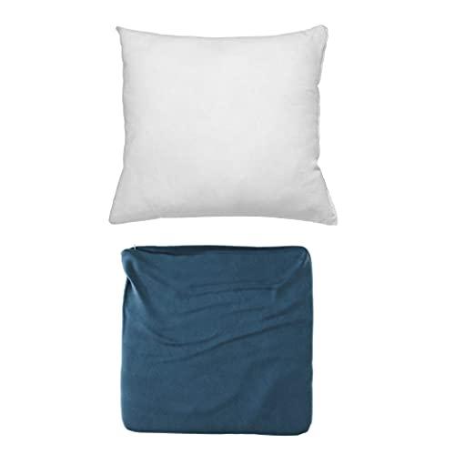 Cojines Sofa con Relleno Incluido Pack de Cojin + Funda de 60x60 en Color Marino / Cojines Decorativos para Sofa , Cama , Salon / Fundas de Terciopelo Elegantes para la decoración del hogar