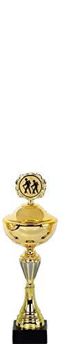 Metall Pokal 67750 Gold/Grau 27,5-41,5 cm mit Emblem mit oder ohne Gravur (Gold/Grau 27,5 cm)