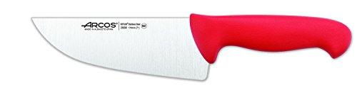 Arcos Serie 2900, Cuchillo Carnicero Ancho, Hoja de Acero Inoxidable Nitrum de 170 mm, Mango inyectado en Polipropileno Color Rojo