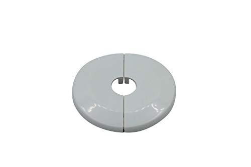 Einzel-Rosetten für Heizungsrohre, Außendurchmesser: 65mm, Heizung, 2 Stück, 10mm,12mm, 15mm, 16mm, 18mm, 22mm, 27mm, 34mm; ABS (16mm, cremeweiß RAL 9001)