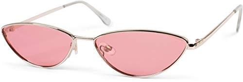 styleBREAKER gafas de sol de mujer de ojos de gato con montura estrecha de metal, lentes planas de policarbonato, «look retro», estilo de ojos de gato 09020097, color:Marco oro / cristal rosa tintado