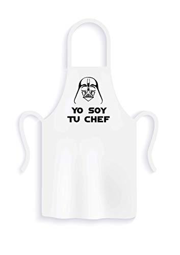 Delantal de cocina YO SOY TU CHEF, delantal divertido ideal para los amantes de la cocina basado en la serie (Blanco)