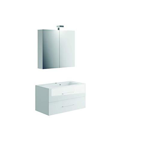 Allibert Badmöbel Set Unterschrank 90 cm Waschtisch Spiegelschrank vormontiert
