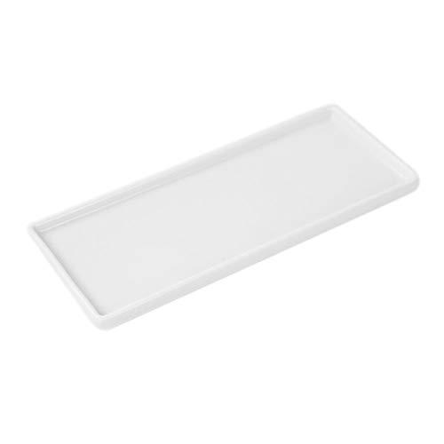 TELLW Plateau de lavage rectangulaire en porcelaine blanche pour salle de bain, toilettes, brosse à dents