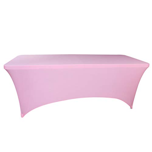 Fvstar 6ft Pink Stretch Tablecloth Rectangular Spandex Dinner Table Cloth Four-Way Tight Fitted Elastic Table Cover Tabletop Protector for Wedding Bar Banquet Party Thansgiving Christmas Decor