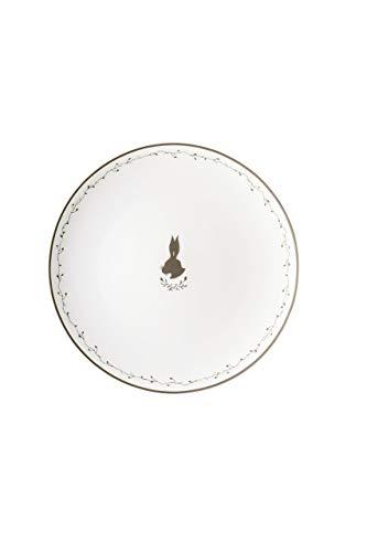 Hutschenreuther Hase/Ø 22 cm Teller, Porzellan, Weiß, 22 x 22 x 3 cm