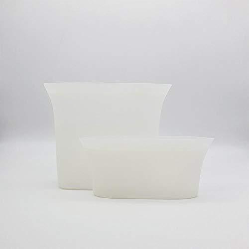 Bolsas de Silicón Reutilizables - 2 Piezas - 118 y 710 mililitros - Bolsa de Almacenamiento para Alimentos - Bolsa con Cierre Herméico a Prueba de Fugas - Blanco