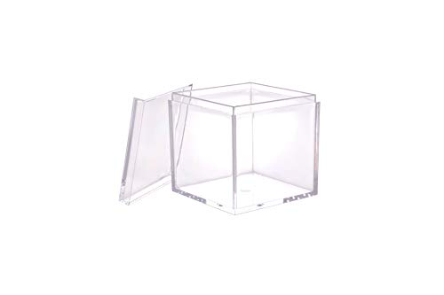Clear Acrylic Plastic Square Cube Candy Party Treat Gift Box Boxes Containers with Lids 2X2X2 Inches