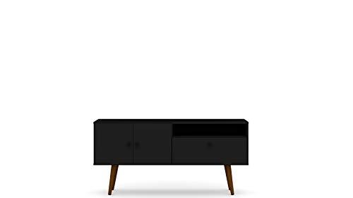 "Manhattan Comfort Tribeca Mid-Century Modern TV Panel with Overhead Décor Shelf, 53.94"", Black -  3PMC70"