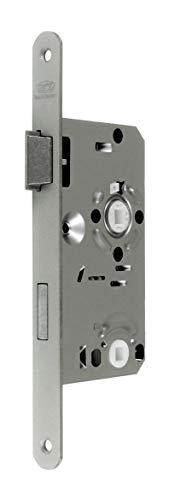 BKS Standard Badezimmer Türschloss mit Vierkant, Falle und Riegel aus Metall, 55/78/8, Stulp: 20 x 235mm abgerundet, DIN Links incl. SN-TEC® Montageset