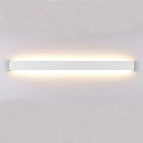 Klighten Wandleuchte LED Innen,30W Moderne Wandbeleuchtung,91cm Up Down Wandlampe, LED Aluminium Wandstrahler für Schlafzimmer, Wohnzimmer, Treppen und Badezimmer, Warmweiß 3000k, Weiß