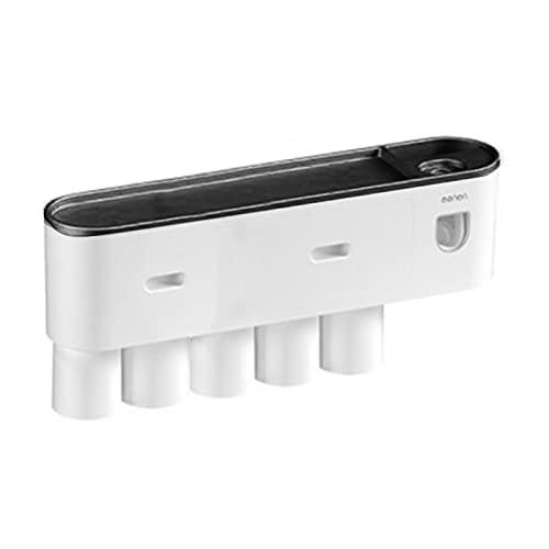 Automático de dientes con soporte de cepillo de dientes, kit multifuncional de dispensador dental automático 2 5 tazas magnéticas y cajón organizador de cosméticos (color aleatorio)