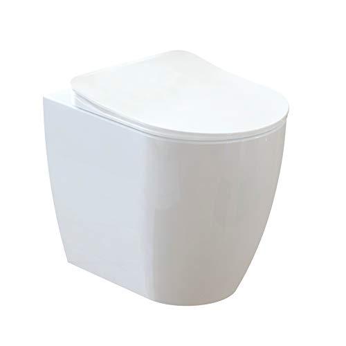 Design Keramik Stand-WC Toilette WC-Schüssel inkl. WC Sitz aus Duroplast mit Absenkautomatik Oval FE350-11