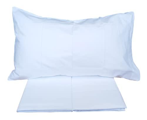 Mae In Colors - Juego de sábanas completo de 100% algodón de 150/180 hilos para cama individual, de plaza y media, de matrimonio (1 plaza y media, blanco)