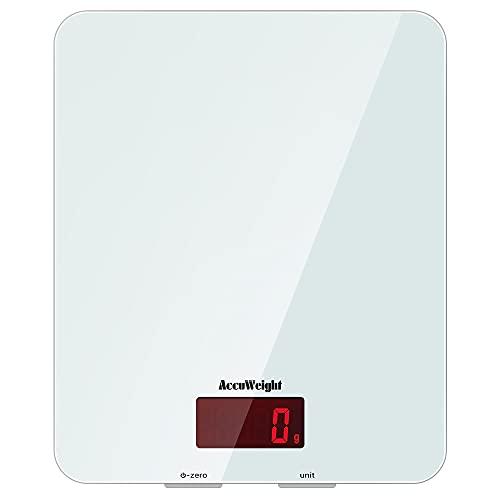 AUWEIGHT Báscula Digital de Cocina con Superficie de Vidrio Templado 5kg/11 lbs Balanza Alimentos Multifuncional con Pantalla LCD para Peso de Comida, Alta Precisión hasta 1g, Blanco