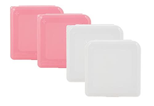 Cajitas Portamascarillas, Pack de 4 unidades (2Rosas y 2 Blancos)