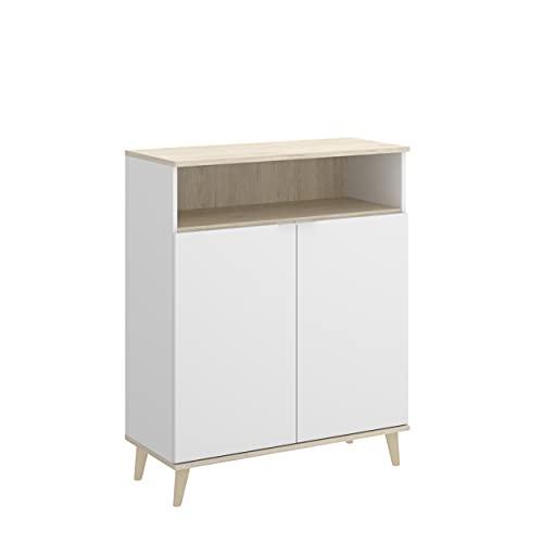 Homely - Alacena de Cocina de diseño nórdico Wok Tablero de partículas melaminizado Color Blanco/Natural o Grafito/Natural 80x40 Alto 102 cm