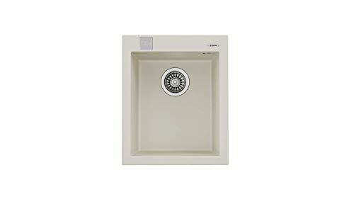 Teka 115230013 - Fregadero de cocina hecho de granito (granito) con un solo cuenco Forsquare 30.40 crema-115230013, color crema claro
