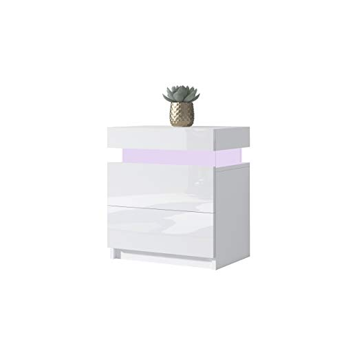 UNDRANDED Modern High Gloss Bedside Table Cabinet Chest of 2 Drawers Bedroom Side Nightstand with 16 Colors RGB LED Lights Furniture Decoration 35x45x52cm (White)